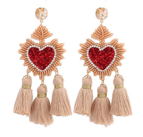 Heart Beaded Tassel Earrings - orangeshine.com