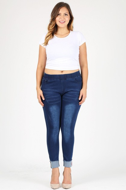 PLUS HIGH WAIST CUFFED HEM JEGGINGS - orangeshine.com