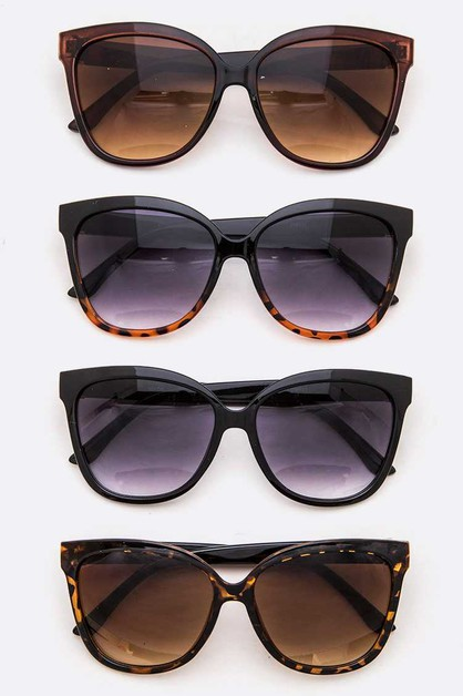 Logo Temple Oversize Fashion Sunglas - orangeshine.com