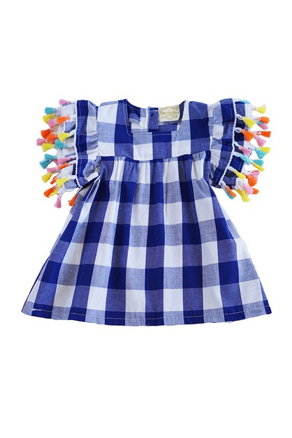 Blue White gingham flutter sleeve  - orangeshine.com