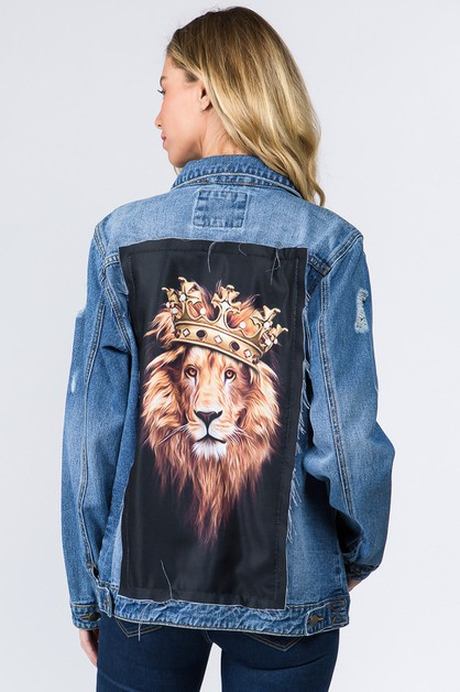 DENIM JACKET WITH LION PATCH - orangeshine.com