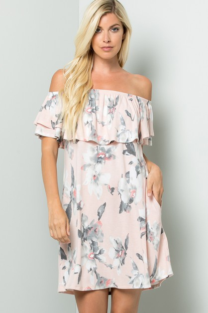 Off shoulder floral dress with pocke - orangeshine.com