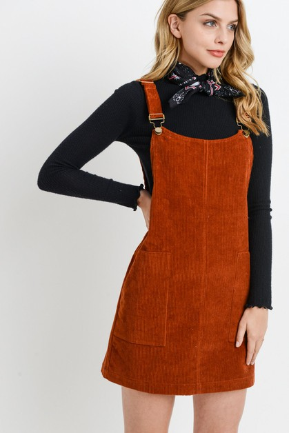 Corduroy Jumpsuit Dress - orangeshine.com