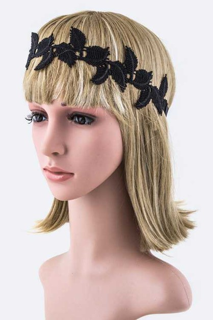 Lace Featheres Stretch Headband - orangeshine.com