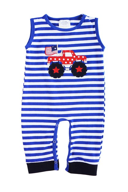 Patriotic truck applique  romper - orangeshine.com