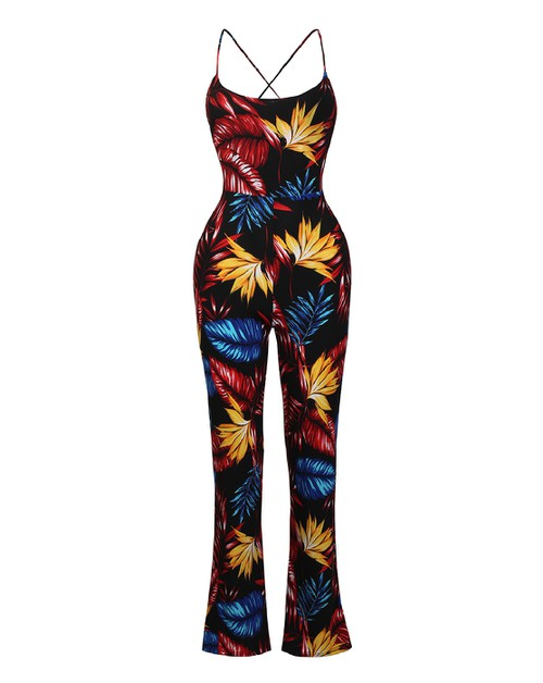 TROPICAL PRINT LADDER JUMPSUIT - orangeshine.com