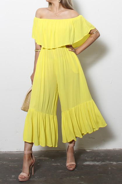 OFF SHOULDER WOVEN JUMPSUIT WITH PO - orangeshine.com