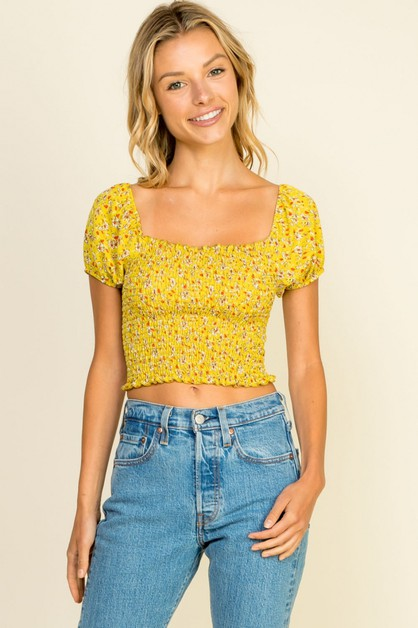 Off shoulder ruffle crop - orangeshine.com