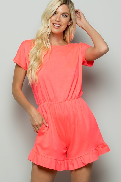 SOLID RUFFLED ROMPER WITH POCKET - orangeshine.com