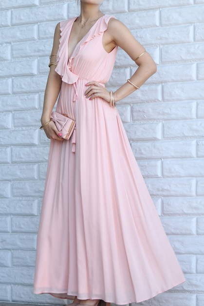RUFFLED MAXI DRESS TASSEL BELT - orangeshine.com