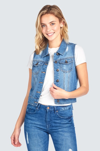 JEAN JACKET VEST DISTRESSED DENIM - orangeshine.com