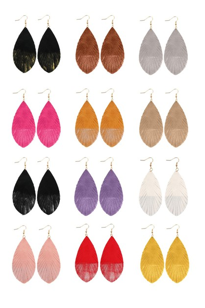 GRUNGE FRINGED DROP LEATHER EARRINGS - orangeshine.com