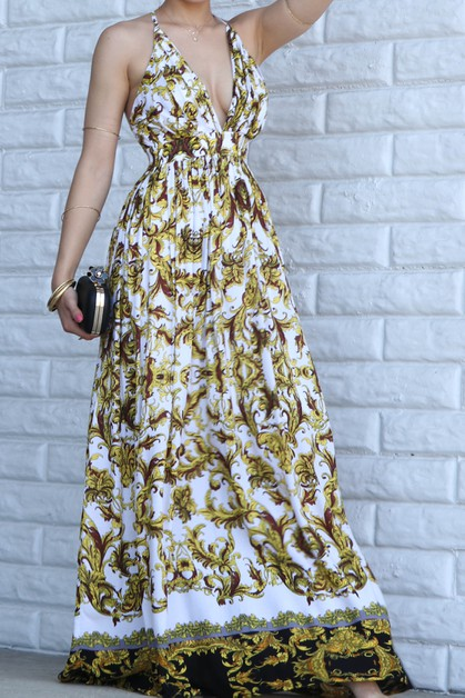 BORDER PRINTED WOVEN MAXI DRESS OPEN - orangeshine.com