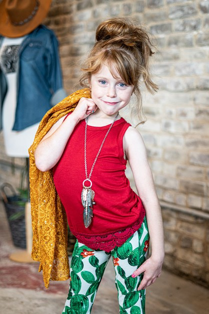 KIDS RED TANKTOP TUNIC WITH LACE  - orangeshine.com