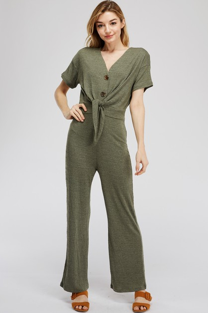 KNIT JUMPSUIT WITH FRONT TIE - orangeshine.com
