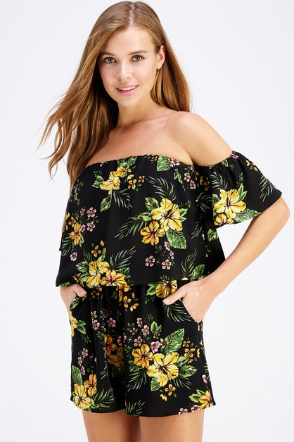 FLORAL OFF THE SHOULDER  - orangeshine.com
