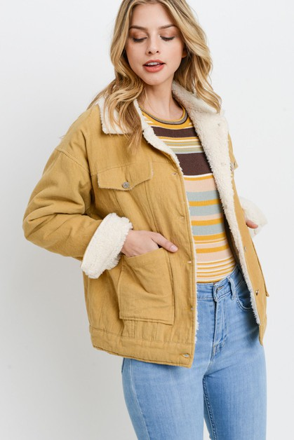 Corduroy Fur Lined Jacket - orangeshine.com