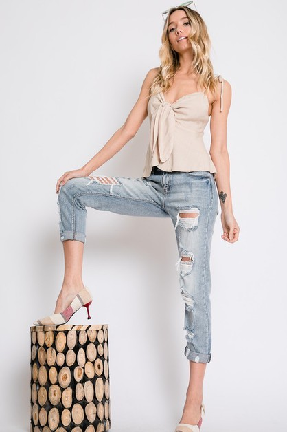 WASHED DISTRESSED GIRLFRIEND JEANS - orangeshine.com