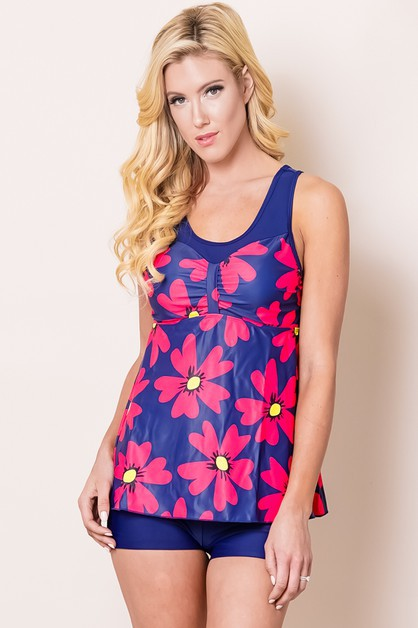 FLORAL TANKINI PADDED CHEST 2 PIECE  - orangeshine.com
