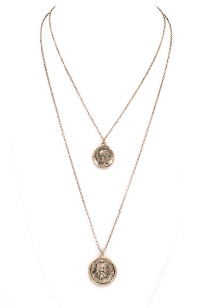 Metal Coin Charm Necklace - orangeshine.com