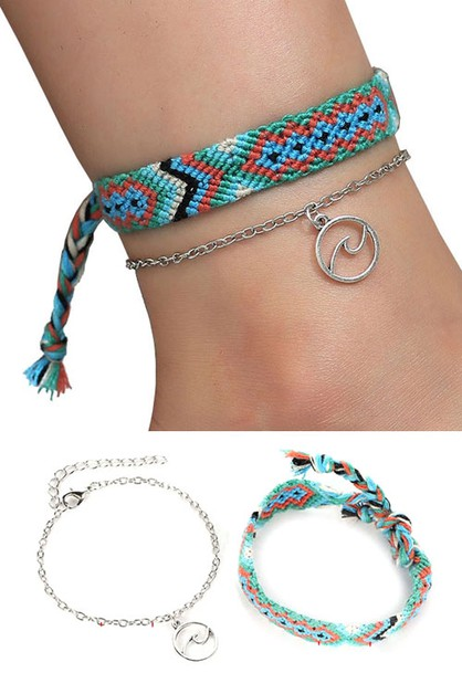 Aztec Knit Anklet with Pendant Ankle - orangeshine.com