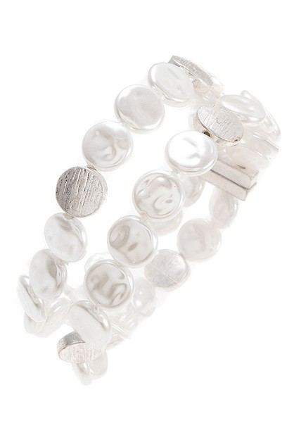 FLAT PEARL AND DISK ACCENT BRACELET - orangeshine.com