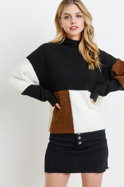 Colorblock Long Sleeve Sweater - orangeshine.com