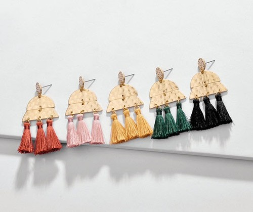 Metal Tassel Statement Earring - orangeshine.com