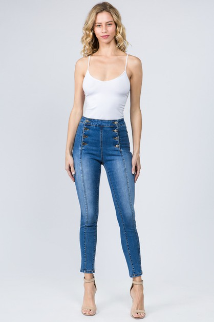 HIGH WAIST DENIM JEANS WITH BUTTONS - orangeshine.com