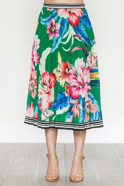 MIDI SKIRT W TROPICAL FLORAL PRINT - orangeshine.com