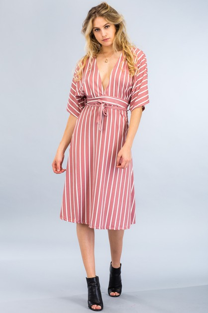 Plunging Stripe Dress - orangeshine.com