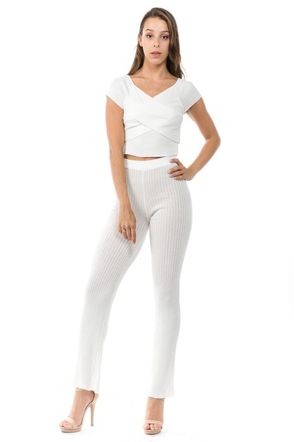 CROSS BAND CROPPED TOP PANTS SET - orangeshine.com