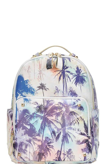 FASHION PALM TREE PRINT BACKPACK - orangeshine.com