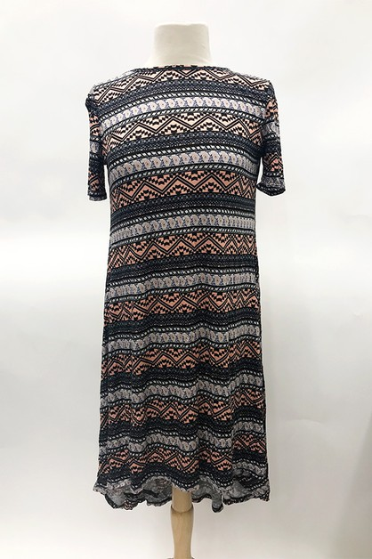 Print High Low Dress - orangeshine.com