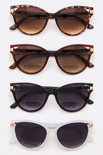 Gold Trim Cat Eye Fashion Sunglasses - orangeshine.com