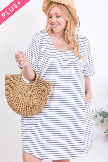 PLUS SIZE PINSTRIPE BUTTON BACK TEE  - orangeshine.com