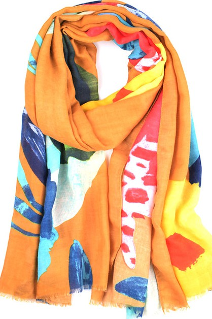 Color-blocked Flowers Scarf Shawl - orangeshine.com
