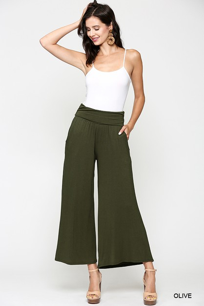 Fold Over Wide Leg Palazzo Pants - orangeshine.com