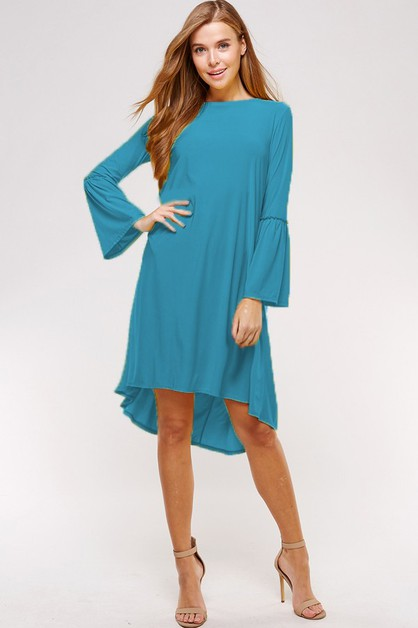 Bell sleeve high low Dress - orangeshine.com