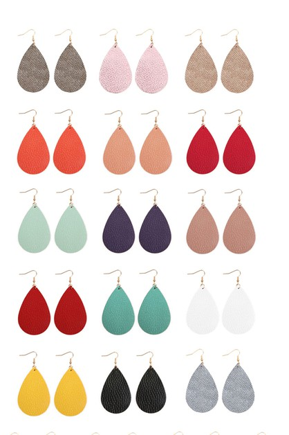 TEARDROP LEATHER EARRINGS - orangeshine.com