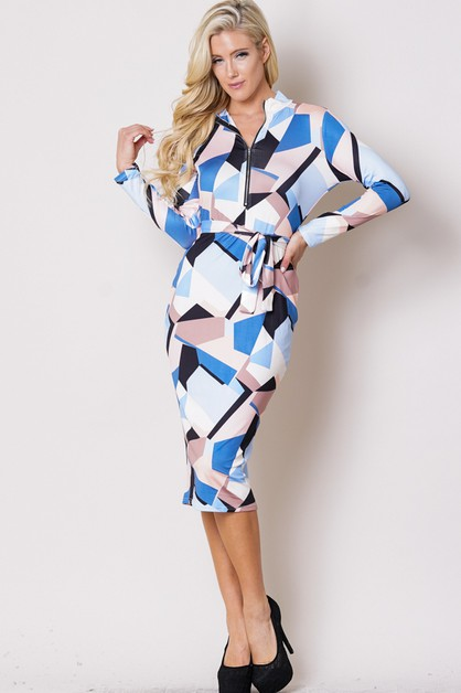 PRINT MOCK NECK LONG SLEEVE DRESS - orangeshine.com