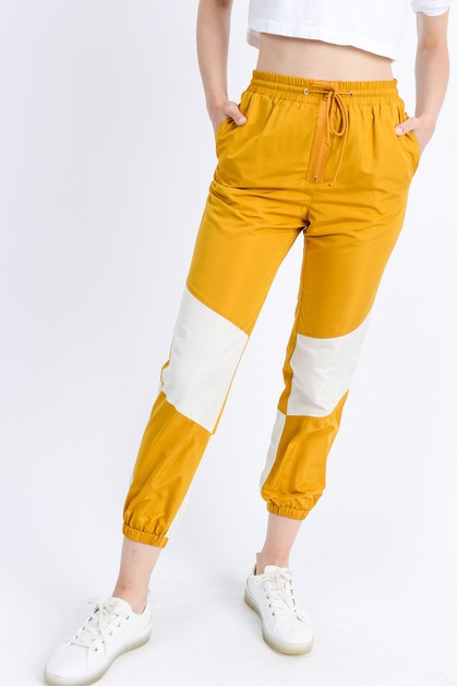 Active Color Block Zip Up Pants - orangeshine.com