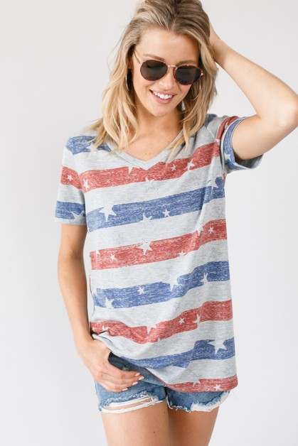 AMERICAN FLAG PRINT FRENCH TERRY TOP - orangeshine.com