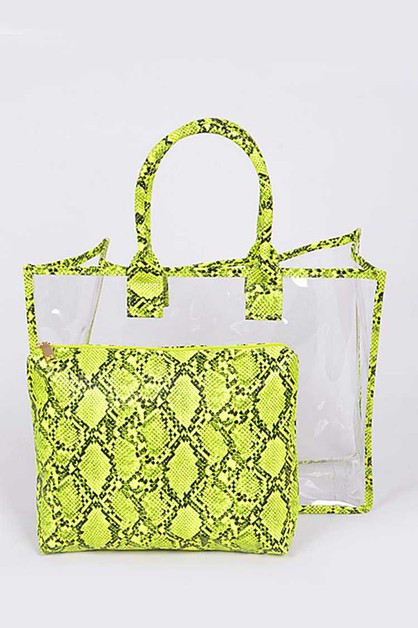 2 In 1 Python Printed Clear Tote Bag - orangeshine.com