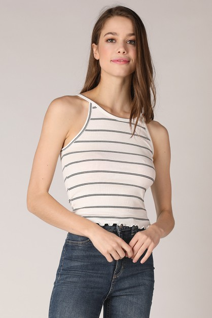Striped Halter Neck Top - orangeshine.com