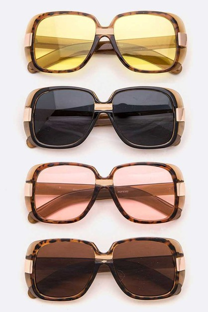 Oversize Square Retro Sunglasses Set - orangeshine.com