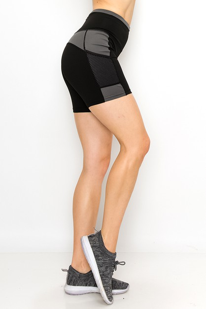 Color blocked yoga shorts  - orangeshine.com