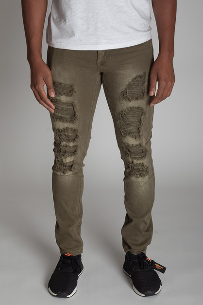 PATCHED DISTRESS SKINNY PANTS - orangeshine.com
