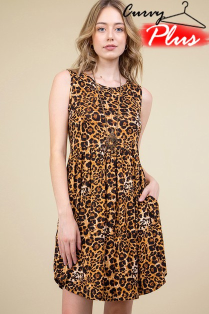 LEOPARD PRINT SLEEVELESS DRESS - orangeshine.com