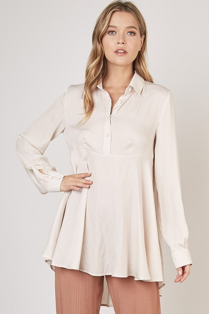 SATIN SHIRT DRESS - orangeshine.com